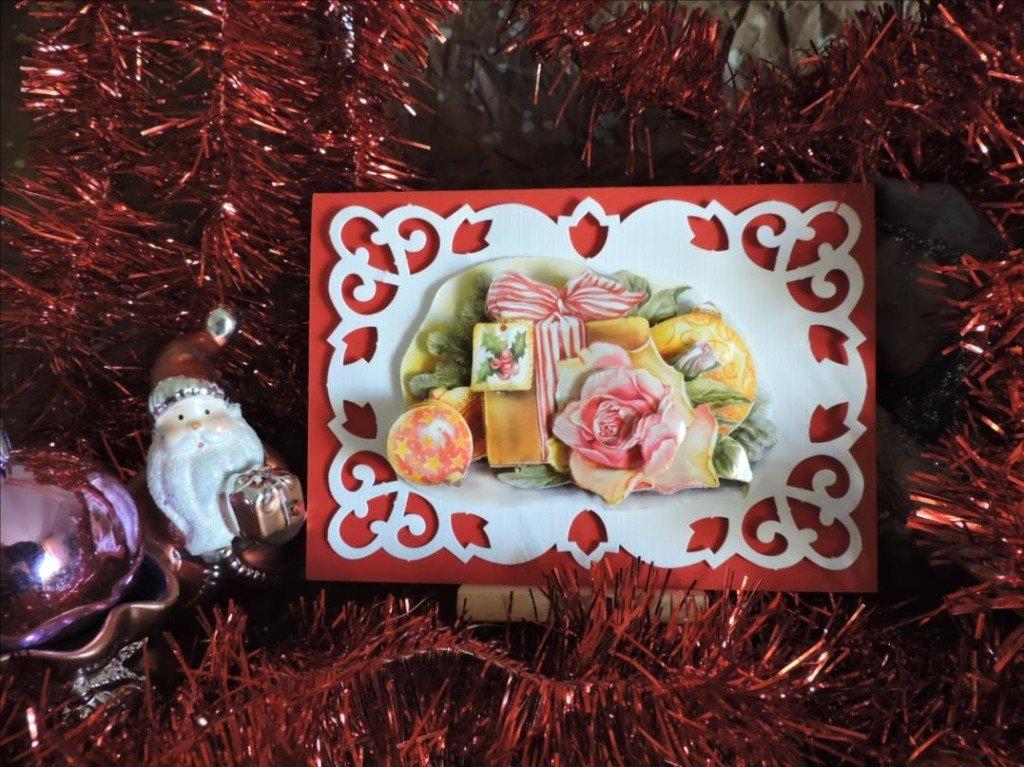 Carte 3D - Noël 2017 - Bouton de rose rose et cadeau de Noël-DSCN0822