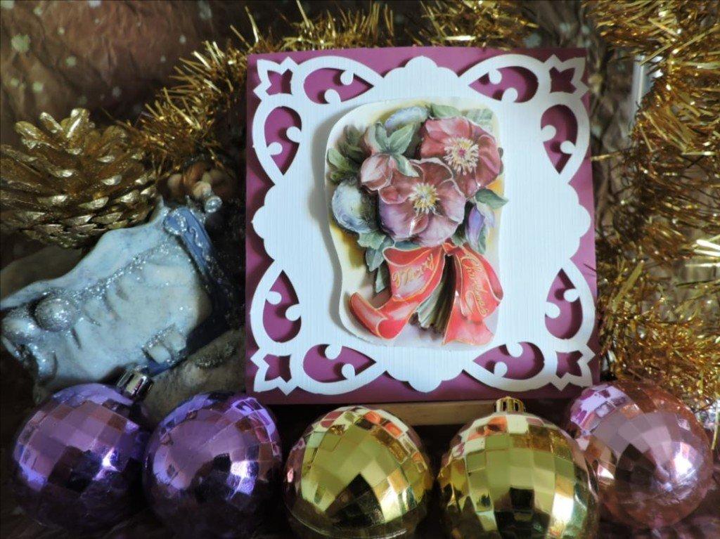 Carte 3D - Noël 2017 - Ellebores roses Merry Christmas-DSCN0818