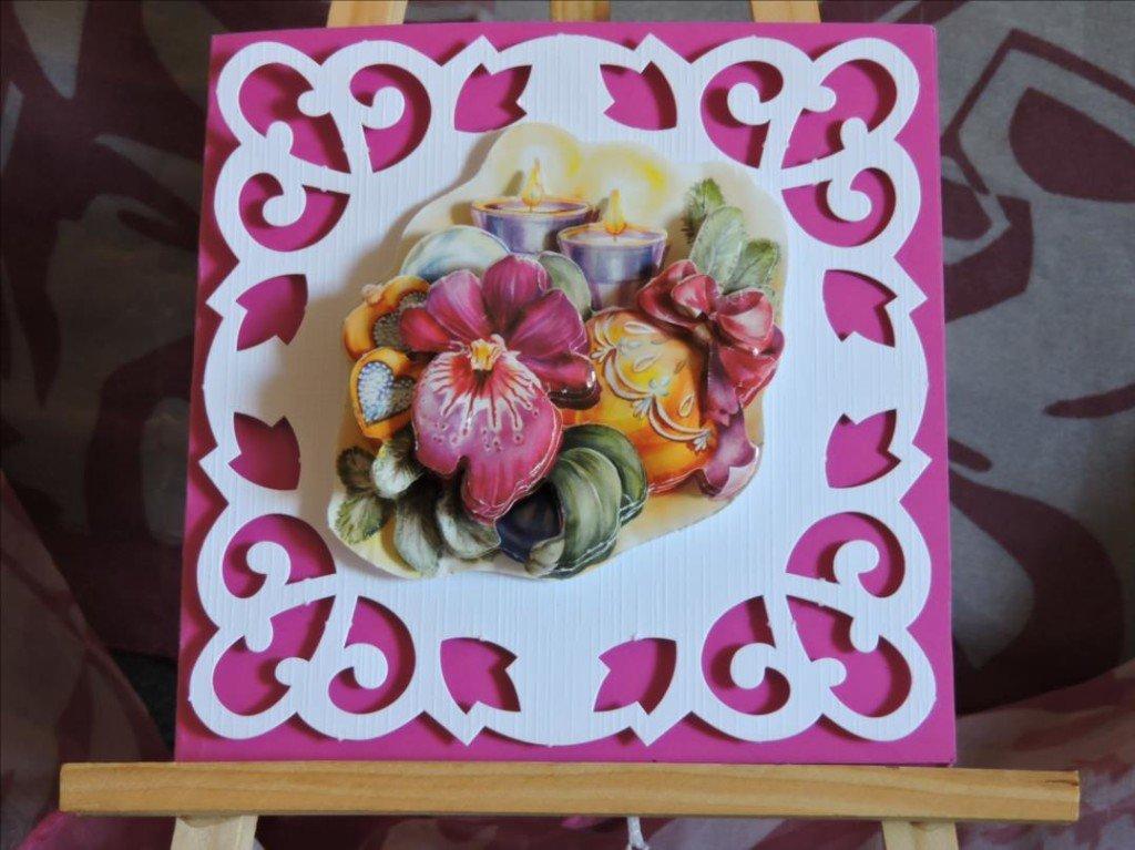Carte 3D - Noël 2017 - Orchidée rose et deux bougies - DSCN0784