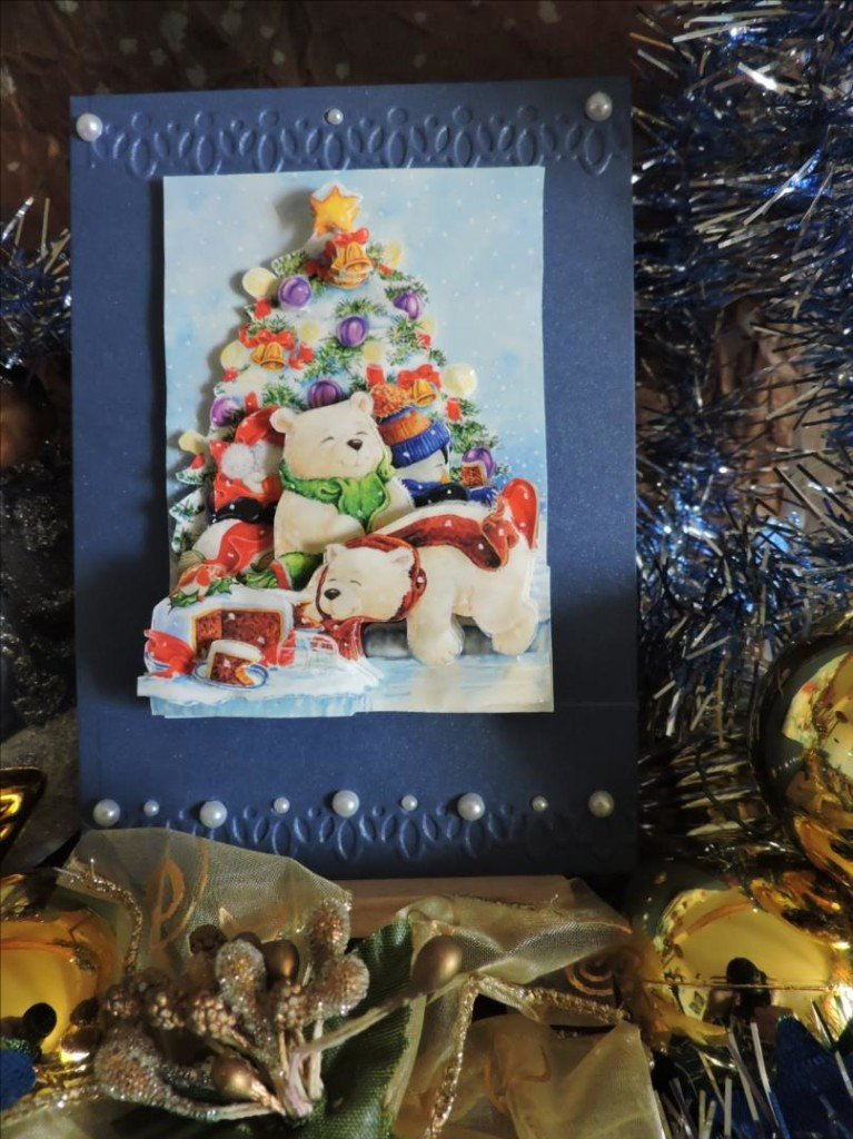 Carte 3D - Noël 2017 - Sapin de Noël aux ours blancs-DSCN0820