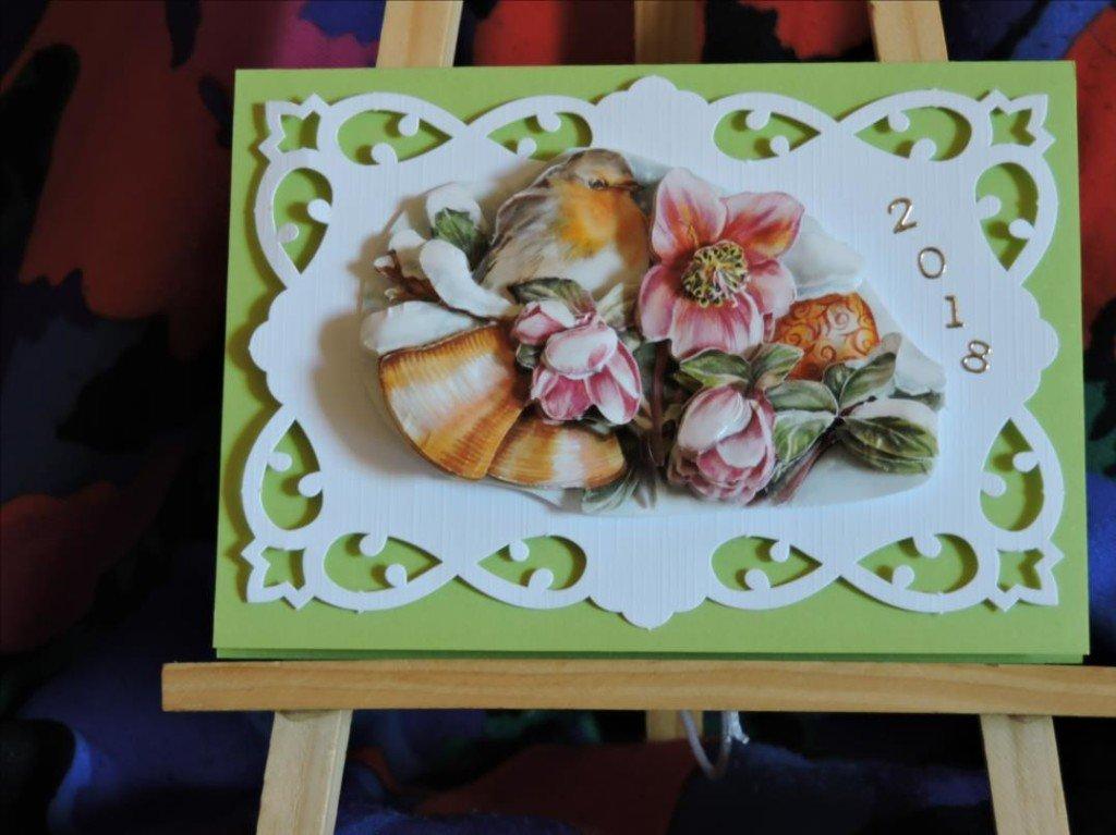 Carte 3D - Voeux 2018 - Ellebores roses au rouge gorge - DSCN0793