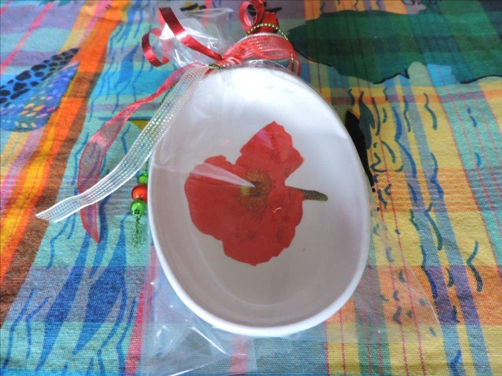 Serviettage Noël 2017-DSCN0833-Vide poche Hibiscus rouge