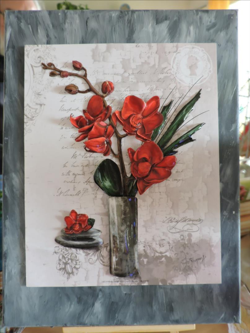 DSCN1278-Cadre 3D - 2018 - Vase Orchidées rouges